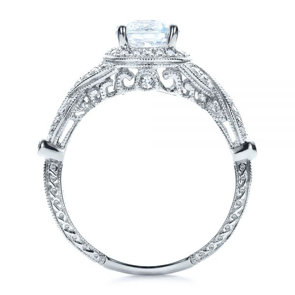18k White Gold Antique Criss-cross Shank Engagement Ring - Vanna K - Front View -