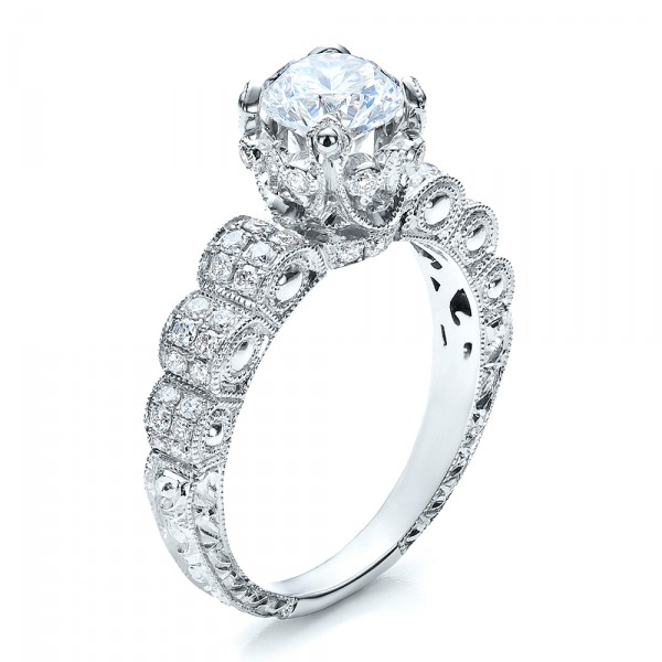 Antique Double Pave Hand Engraved Engagement Ring - Vanna K