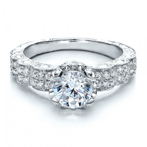 Antique Double Pave Hand Engraved Engagement Ring - Vanna K - Laying View