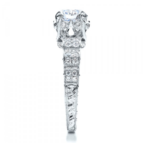 Antique Double Pave Hand Engraved Engagement Ring - Vanna K - Side View