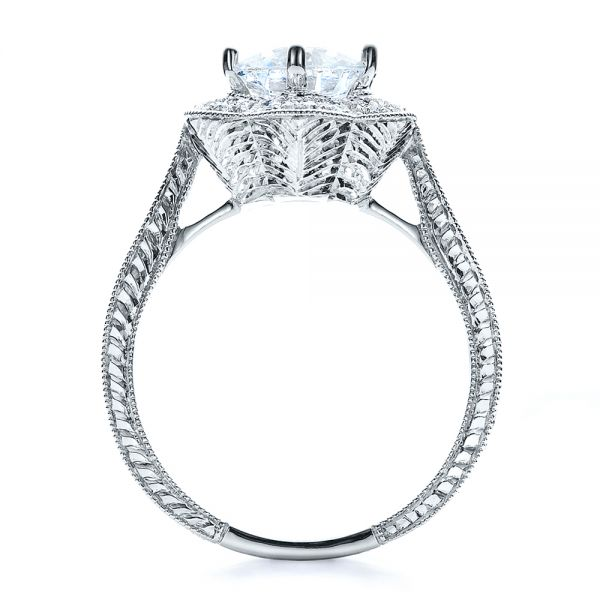 18k White Gold Antique Hand Engraved Engagement Ring - Vanna K - Front View -