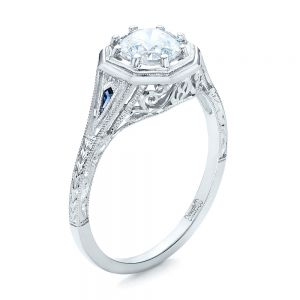 Art Deco Blue Sapphire and Diamond Engagement Ring - Image