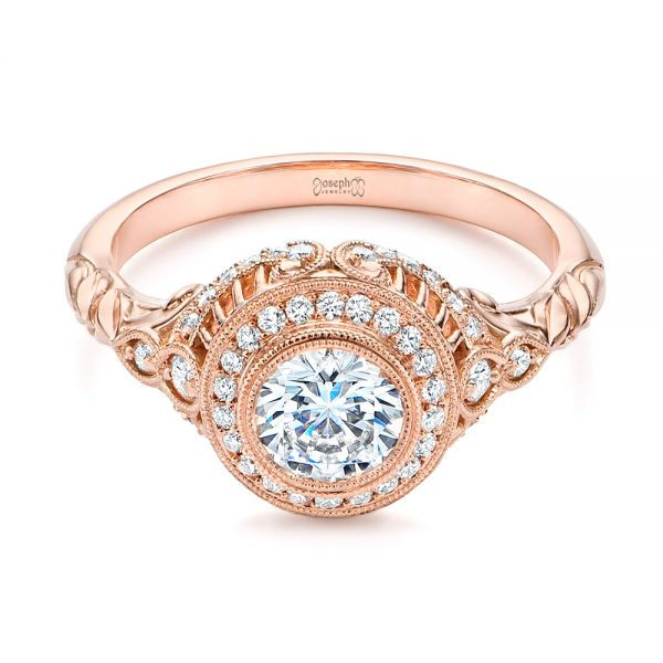 14k Rose Gold Art Deco Diamond Halo Engagement Ring - Flat View -