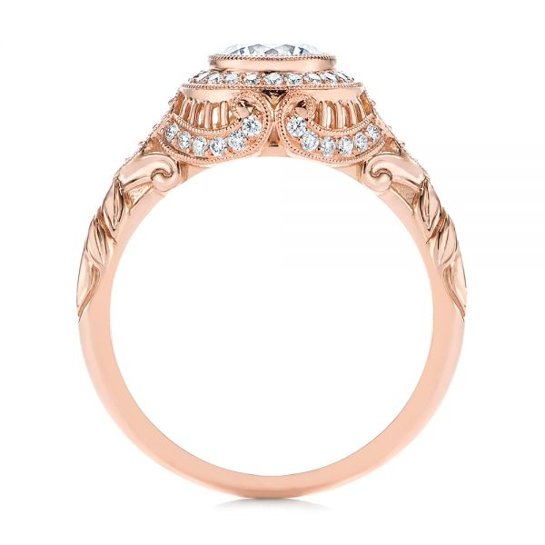 14k Rose Gold Art Deco Diamond Halo Engagement Ring - Front View -  105790 - Thumbnail