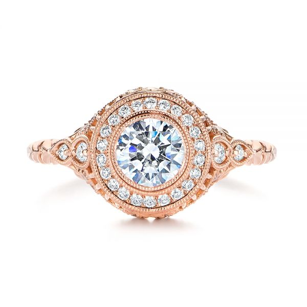 14k Rose Gold Art Deco Diamond Halo Engagement Ring - Top View -  105790 - Thumbnail