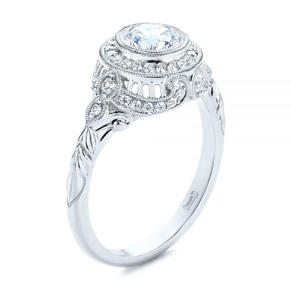 Art Deco Diamond Halo Engagement Ring - Image