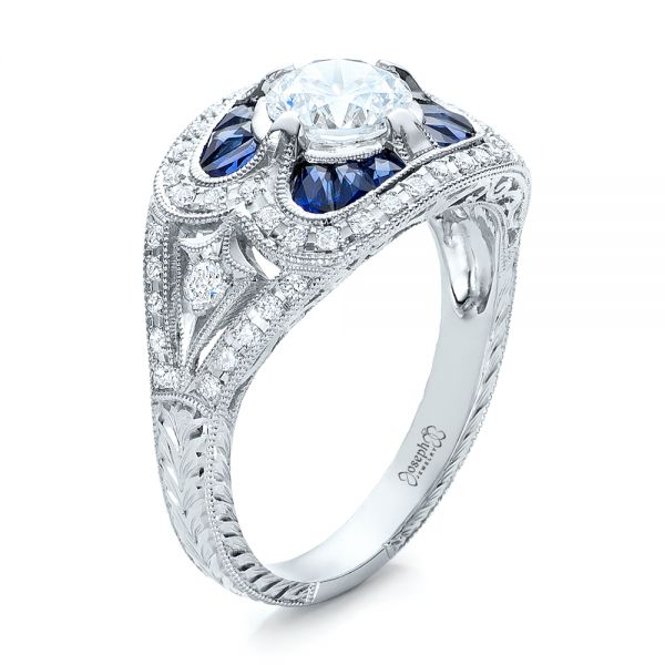 Art Deco Diamond and Blue Sapphire Engagement Ring