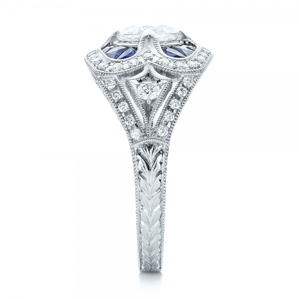 Art Deco Diamond and Blue Sapphire Engagement Ring - Side View