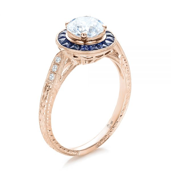 Art Deco Style Blue Sapphire Halo and Diamond Engagement Ring - Image