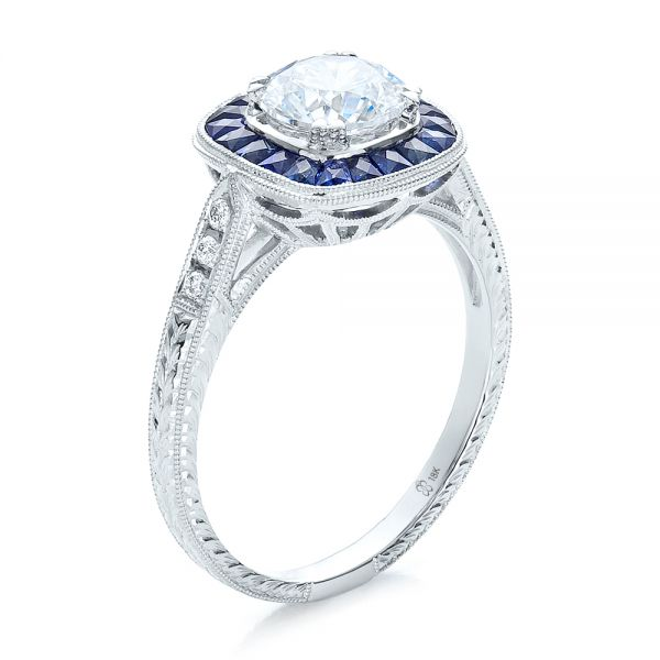 Art Deco Style Blue Sapphire Halo And Diamond Engagement Ring - Three-Quarter View -  100384