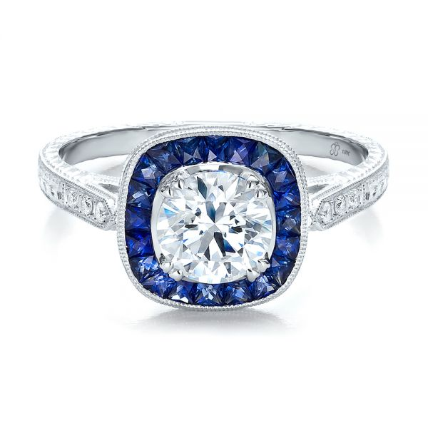 Art Deco Style Blue Sapphire Halo And Diamond Engagement Ring - Flat View -  100384