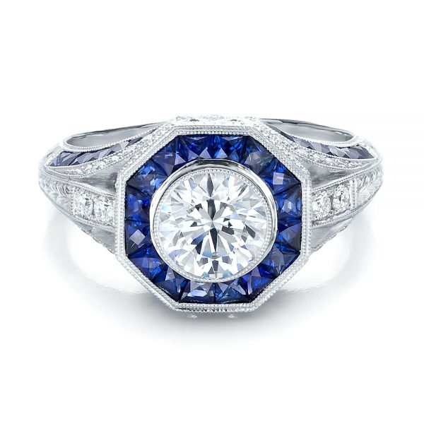 Art Deco Style Blue Sapphire Halo and Diamond Engagement Ring - Flat View -  100386 - Thumbnail