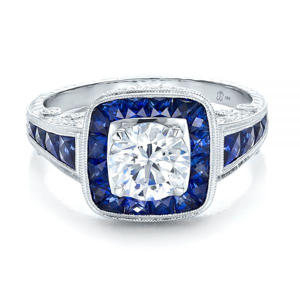 Art Deco Style Blue Sapphire Halo And Diamond Engagement Ring - Flat View -