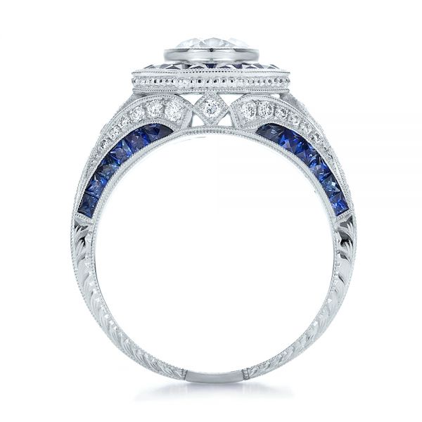 Art Deco Style Blue Sapphire Halo and Diamond Engagement Ring - Front View -  100386 - Thumbnail