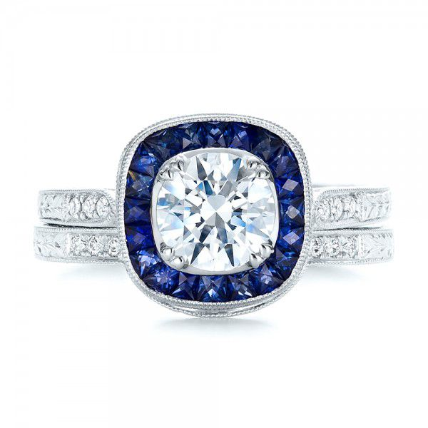 Art Deco Style Blue Sapphire Halo And Diamond Engagement Ring - Top View -  100384