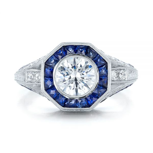 Art Deco Style Blue Sapphire Halo and Diamond Engagement Ring - Top View -  100386 - Thumbnail