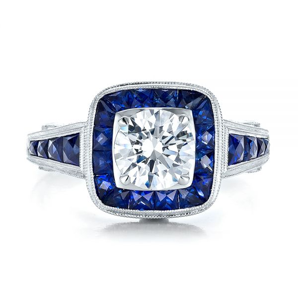 Art Deco Style Blue Sapphire Halo And Diamond Engagement Ring - Top View -