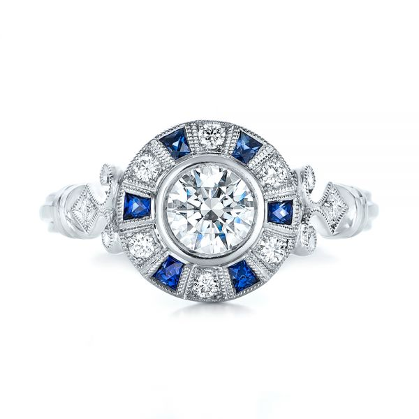 Art Deco Style Blue Sapphire Halo and Diamond Engagement Ring - Top View -  101987 - Thumbnail