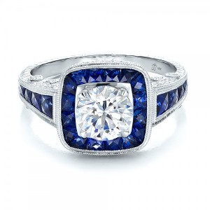 Art Deco Style Blue Sapphire Halo and Diamond Engagement Ring
