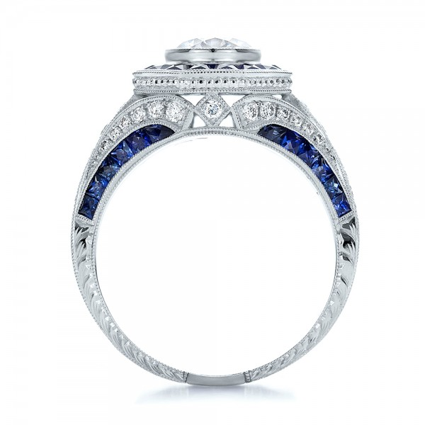 Art Deco Style Blue Sapphire Halo and Diamond Engagement Ring - Finger Through View