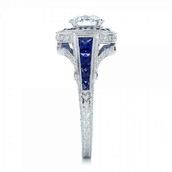 Art Deco Style Blue Sapphire Halo and Diamond Engagement Ring - Side View
