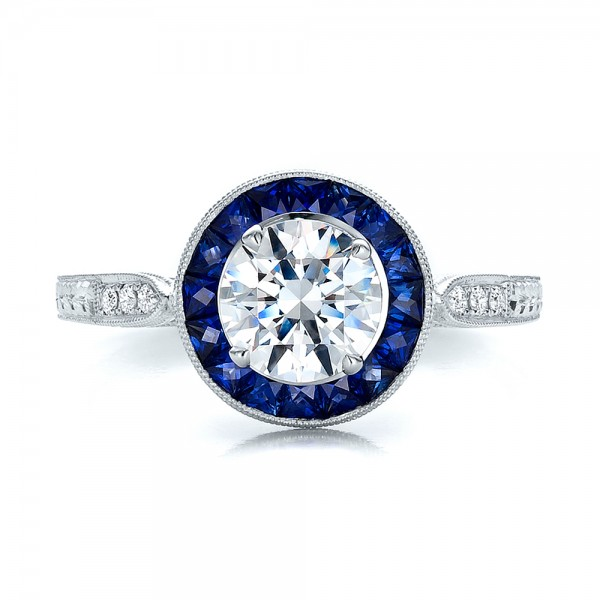 Art Deco Style Blue Sapphire Halo and Diamond Engagement Ring - Top View