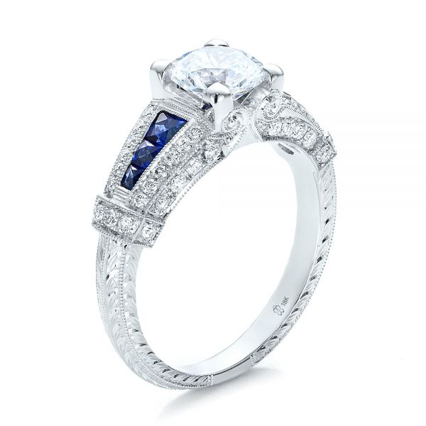 Art Deco Style Blue Sapphire and Diamond Engagement Ring - Image