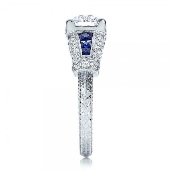 Art Deco Style Blue Sapphire and Diamond Engagement Ring - Side View