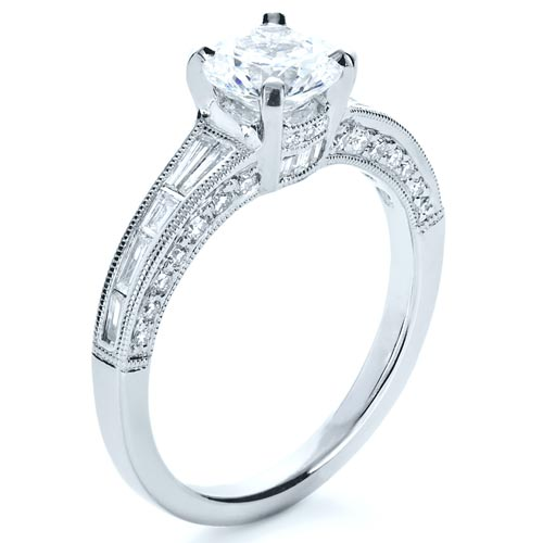 Baguette Diamond Engagement Ring - 3/4 View