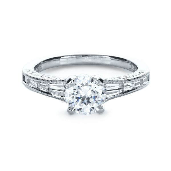 18k White Gold Baguette Diamond Engagement Ring - Flat View -