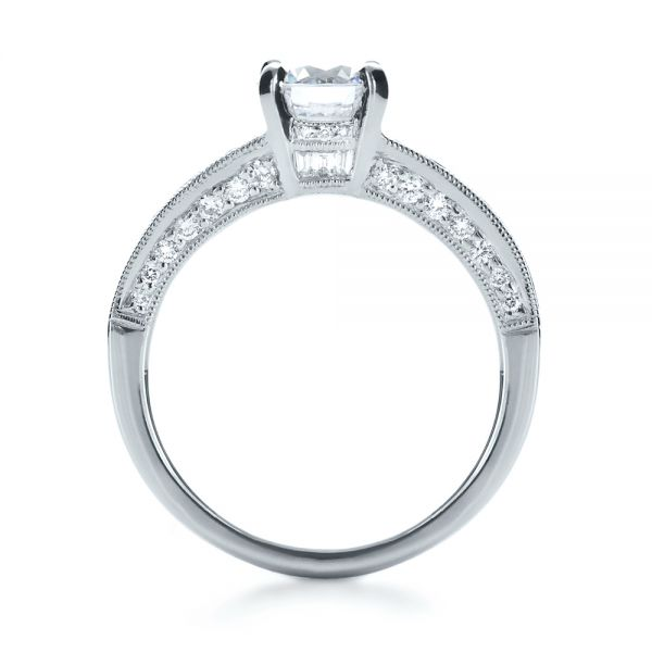 18k White Gold Baguette Diamond Engagement Ring - Front View -