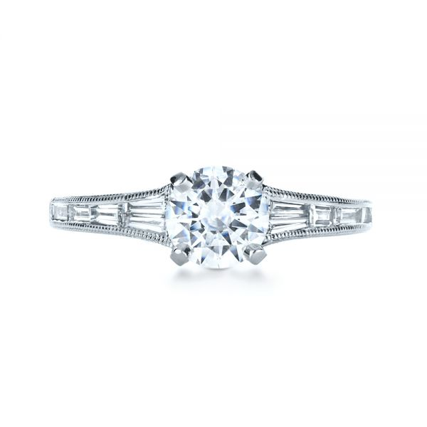 18k White Gold Baguette Diamond Engagement Ring - Top View -