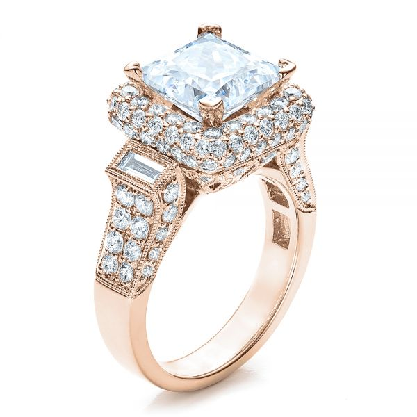18K Rose Gold Baguette Side Stones Princess Cut Engagement Ring - Vanna K - Three-Quarter View -  100037 - Thumbnail