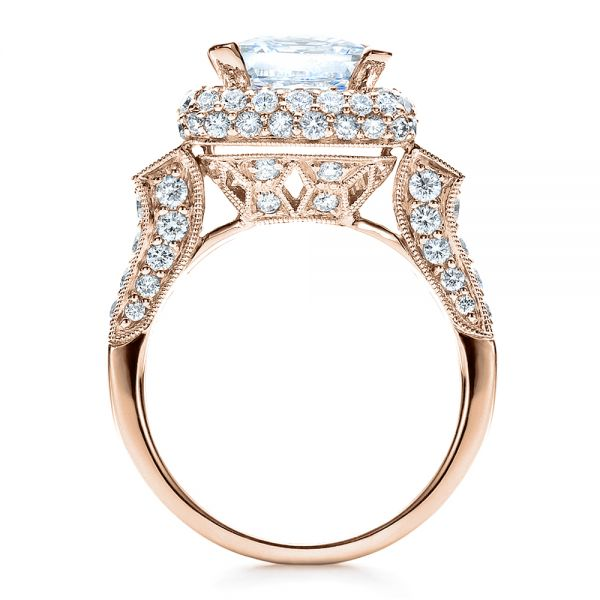 18K Rose Gold Baguette Side Stones Princess Cut Engagement Ring - Vanna K - Front View -  100037 - Thumbnail