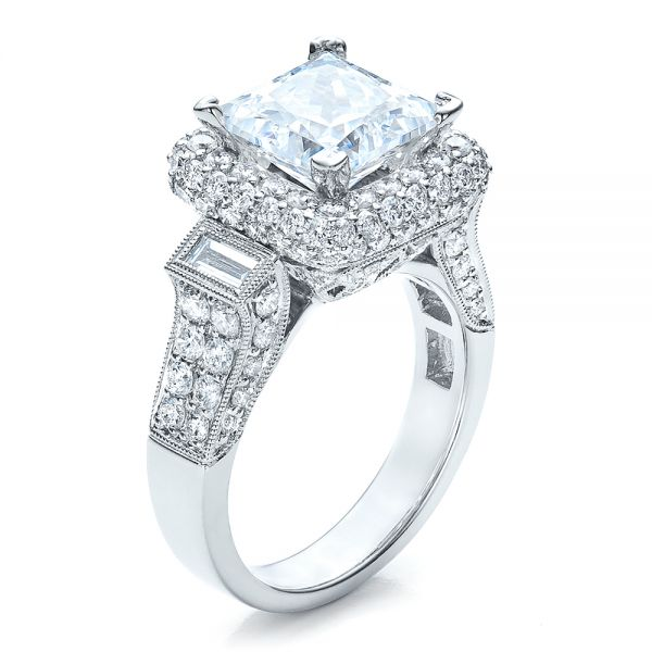 Baguette Side Stones Princess Cut Engagement Ring - Vanna K - Image