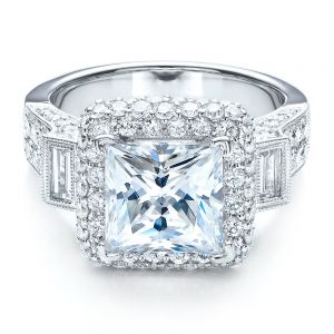 Baguette Side Stones Princess Cut Engagement Ring - Vanna K