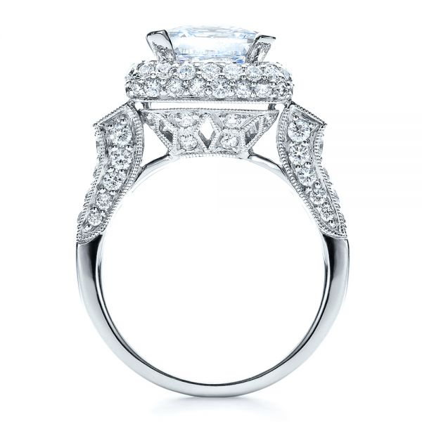 14k White Gold 14k White Gold Baguette Side Stones Princess Cut Engagement Ring - Vanna K - Front View -
