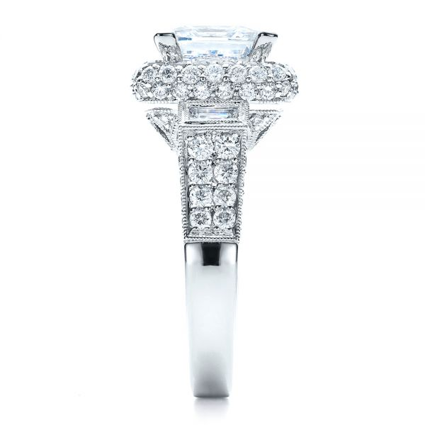 18k White Gold Baguette Side Stones Princess Cut Engagement Ring - Vanna K - Side View -