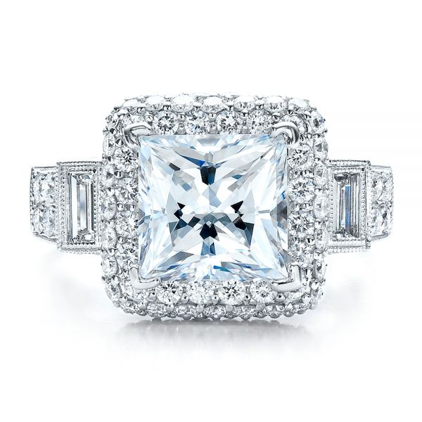 14k White Gold 14k White Gold Baguette Side Stones Princess Cut Engagement Ring - Vanna K - Top View -