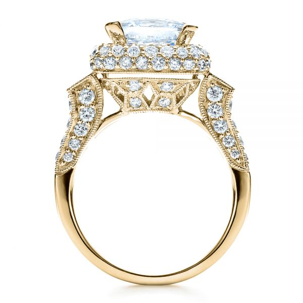 14k Yellow Gold 14k Yellow Gold Baguette Side Stones Princess Cut Engagement Ring - Vanna K - Front View -