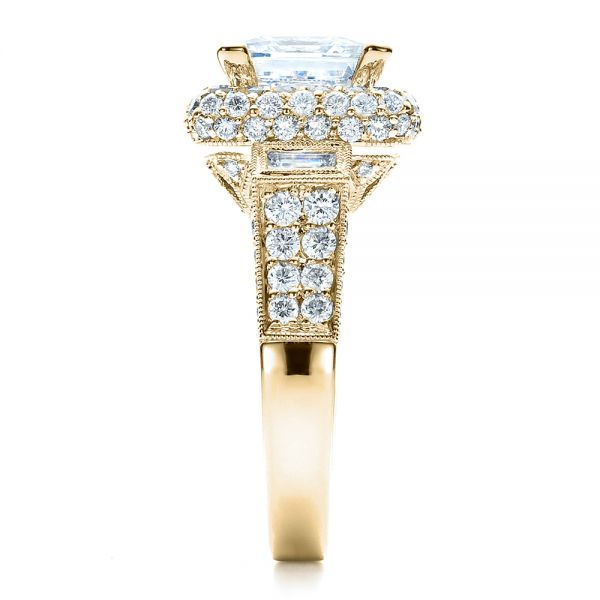 14k Yellow Gold 14k Yellow Gold Baguette Side Stones Princess Cut Engagement Ring - Vanna K - Side View -