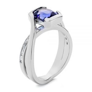 Black Rhodium Sapphire and Baguette Diamond Engagement RIng - Image