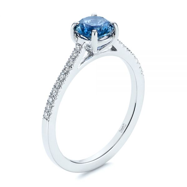 14k White Gold Blue Montana Sapphire And Diamond Engagement Ring - Three-Quarter View -  105750