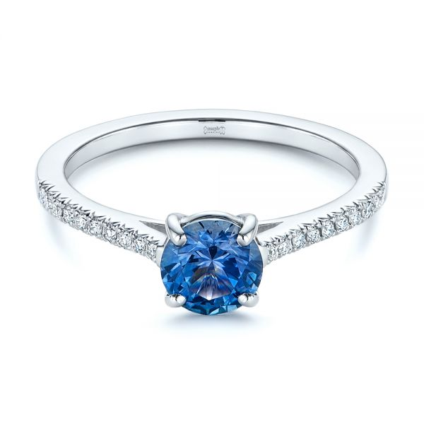 14k White Gold Blue Montana Sapphire And Diamond Engagement Ring - Flat View -  105750