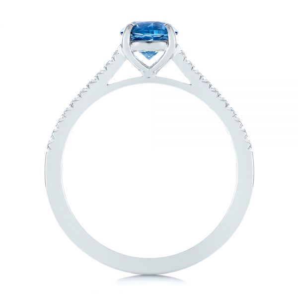 14k White Gold Blue Montana Sapphire And Diamond Engagement Ring - Front View -  105750