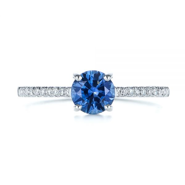 14k White Gold Blue Montana Sapphire And Diamond Engagement Ring - Top View -  105750