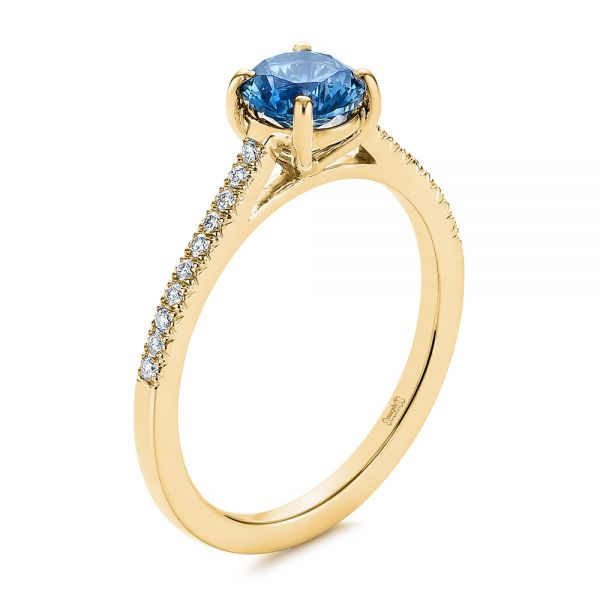 Blue Montana Sapphire and Diamond Engagement Ring - Image