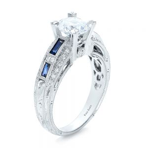 Blue Sapphire, Diamond and Hand Engraved Engagement Ring - Kirk Kara - Image