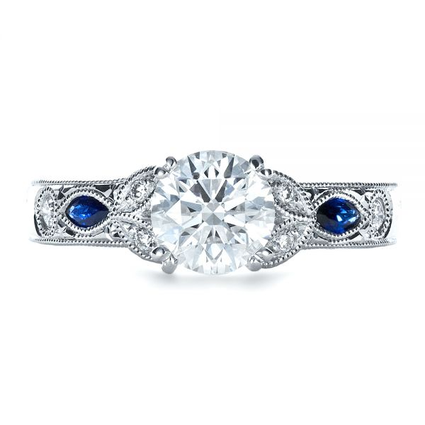 Blue Sapphire Engagement Ring - Kirk Kara - Top View -  1415 - Thumbnail