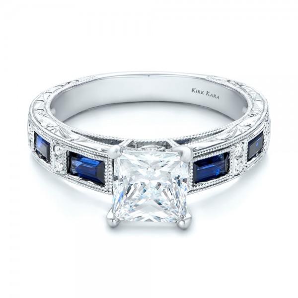 Blue Sapphire Engagement Ring - Kirk Kara - Laying View